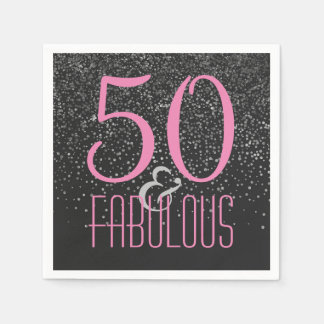50 & Fabulous Black Pink | Elegant 50th Birthday Disposable Serviette
