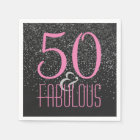 50 & Fabulous Black Pink | Elegant 50th Birthday Paper Napkin