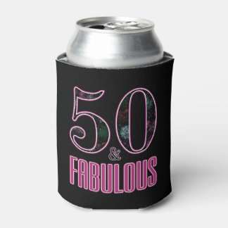 50 & Fabulous Black Pink Typography 50th Birthday Can Cooler