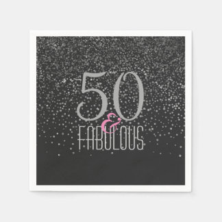 50 & Fabulous Black Silver | Elegant 50th Birthday Disposable Serviettes