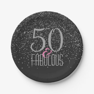 50 & Fabulous Black Silver | Elegant 50th Birthday Paper Plate