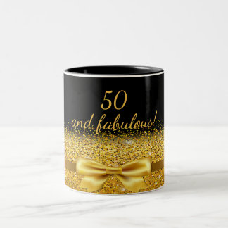 50 fabulous Chic golden bow with sparkle on black Two-Tone Coffee Mug