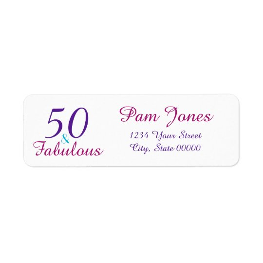 50 Fabulous Colourful Birthday Return Address