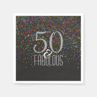 50 & Fabulous Confetti Dots Elegant 50th Birthday Disposable Serviettes