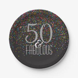 50 & Fabulous Confetti Dots Elegant 50th Birthday Paper Plate