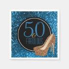 50 & Fabulous | Elegant 50th Birthday High Heels Disposable Serviette