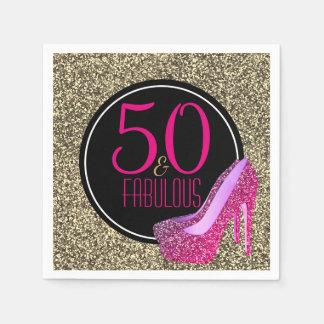 50 & Fabulous | Elegant 50th Birthday High Heels Disposable Serviettes