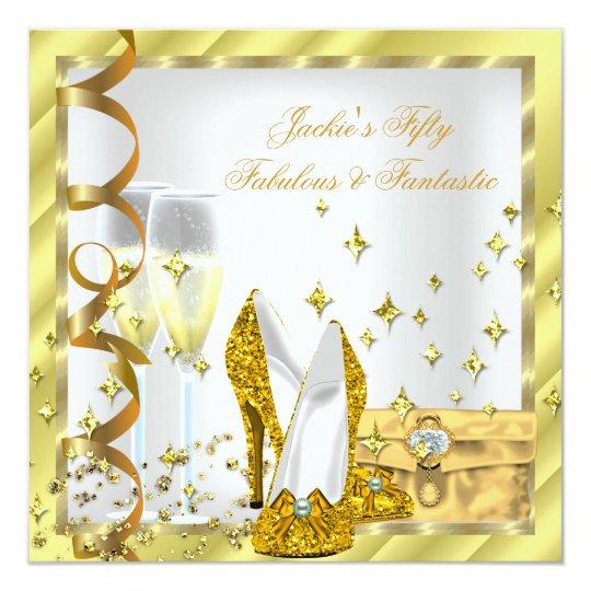 50 & Fabulous Fantastic White Yellow Gold Birthday Card