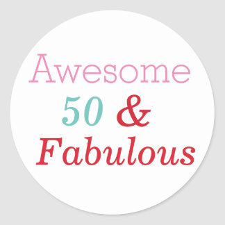 50 & Fabulous Fun 50th Birthday Sticker