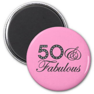 50 & Fabulous Gift 6 Cm Round Magnet
