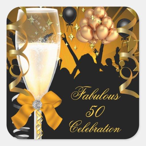 50 & Fabulous Gold Black Birthday Champagne Square Sticker