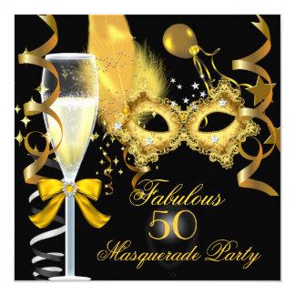 50 & Fabulous Gold Black Masquerade Party 13 Cm X 13 Cm Square Invitation Card