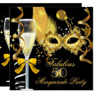50 & Fabulous Gold Black Masquerade Party Card
