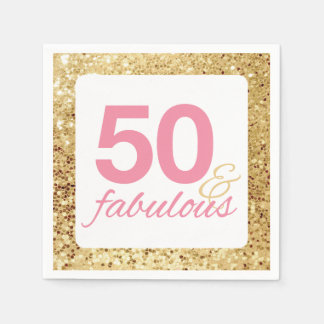 50 & Fabulous Gold Faux Sequin and Pink Birthday Disposable Serviette