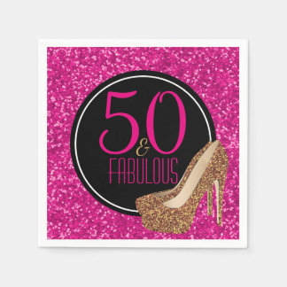 50 & Fabulous | Gold Glitter Pink 50th Birthday Disposable Napkin