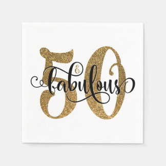 50 & Fabulous Gold Glitter Typography Birthday 2 Disposable Napkins