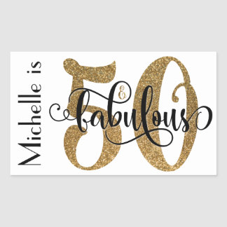 50 & Fabulous Gold Glitter Typography Birthday 3 Rectangular Sticker