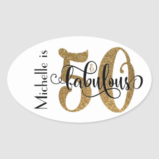 50 & Fabulous Gold Glitter Typography Birthday 3b Oval Sticker