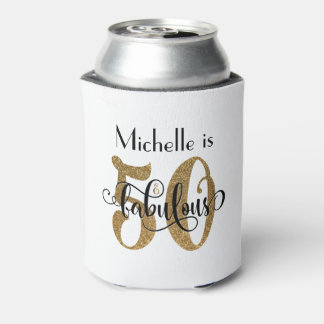 50 & Fabulous Gold Glitter Typography Birthday Can Cooler