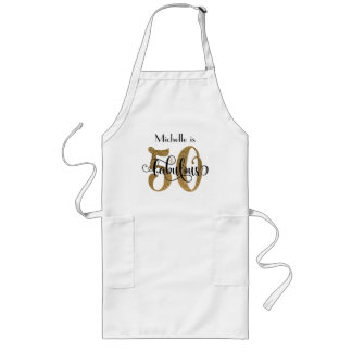 50 & Fabulous Gold Glitter Typography Birthday Long Apron