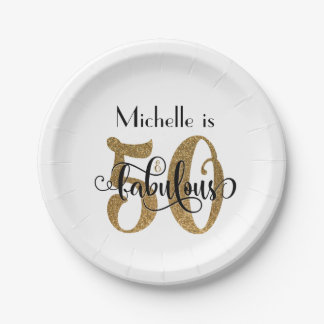 50 & Fabulous Gold Glitter Typography Birthday Paper Plate