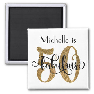 50 & Fabulous Gold Glitter Typography Birthday Square Magnet