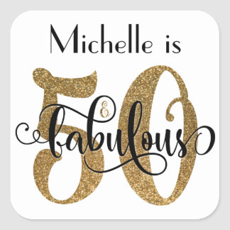 50 & Fabulous Gold Glitter Typography Birthday Square Sticker