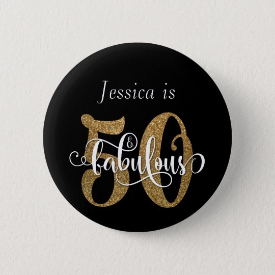 50 & Fabulous Gold Glitter Typography on Black