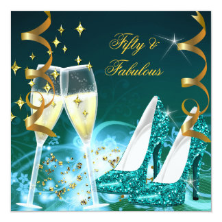 50 & Fabulous Gold Teal Glitter Heels Party Card