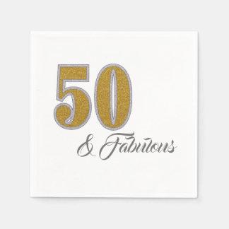 50 & Fabulous Golden Celebration Paper Napkins Disposable Napkin