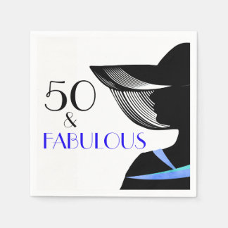 50 & Fabulous lady with blue collar and blue text Disposable Napkins