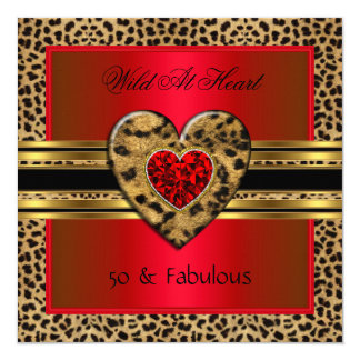 50 & fabulous Leopard Wild At Heart Black Gold Red Card