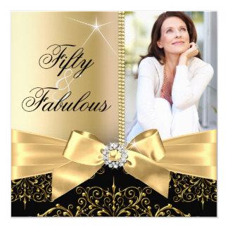 50 & Fabulous Photo Gold Black Bow 50th Birthday 13 Cm X 13 Cm Square Invitation Card