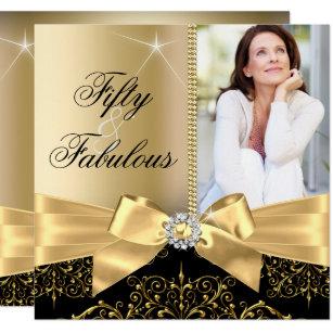 50 Fabulous Photo Gold Black Bow 50th Birthday Invitation