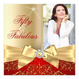 50 & Fabulous Photo Gold Red Bow 50th Birthday Card