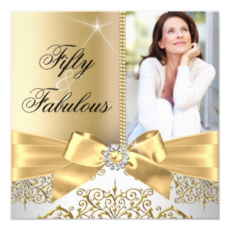 50 & Fabulous Photo Gold Silver Bow 50th Birthday 13 Cm X 13 Cm Square Invitation Card
