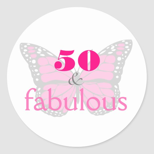 50 & Fabulous Pink 50th Birthday Butterfly Classic
