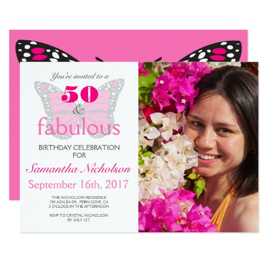 50 & Fabulous Pink 50th Birthday Party Invitation