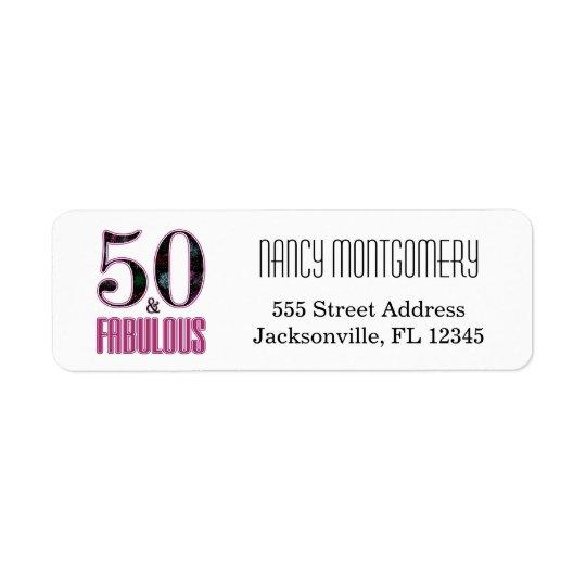 50 & Fabulous Pink Black Typography 50th Birthday