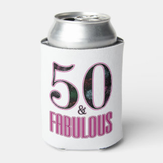 50 & Fabulous Pink Black Typography 50th Birthday Can Cooler