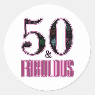50 & Fabulous Pink Black Typography 50th Birthday Classic Round Sticker