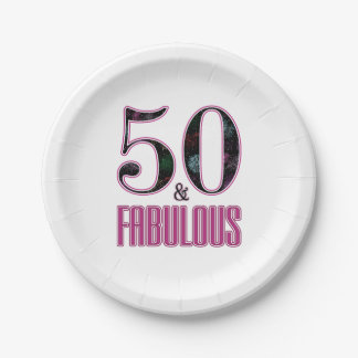 50 & Fabulous Pink Black Typography 50th Birthday Paper Plate