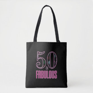 50 & Fabulous Pink Black Typography 50th Birthday Tote Bag