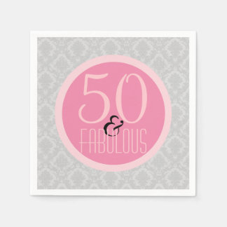 50 & Fabulous Pink Gray Damask Chic 50th Birthday Paper Napkin