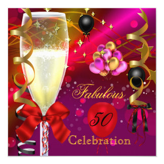 50 & Fabulous Pink Red Gold Black Birthday Party Card
