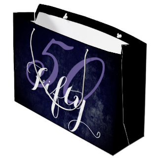 50 & Fabulous! Purple White Lilac 50th Birthday Large Gift Bag