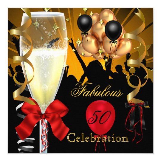 50 & Fabulous Red Gold Black Birthday Party