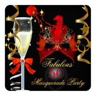 50 & Fabulous Red Gold Black Masquerade Party Card