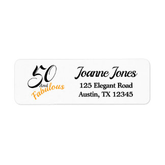 50 & Fabulous. Return Address Label Orange & Black