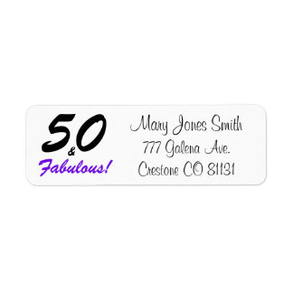 50 & Fabulous set in black and purple typography